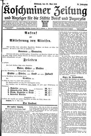 Koschminer Zeitung und Anzeiger für die Städte Borek und Pogorzela vom 22.05.1918