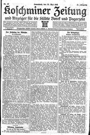 Koschminer Zeitung und Anzeiger für die Städte Borek und Pogorzela vom 25.05.1918