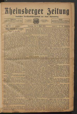 Rheinsberger Zeitung vom 07.04.1925