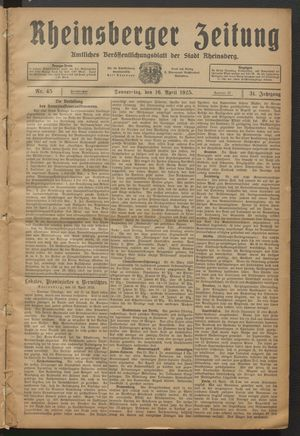 Rheinsberger Zeitung vom 16.04.1925