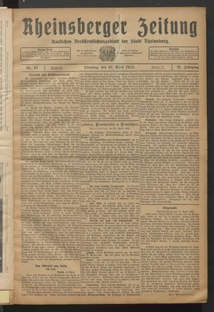 Rheinsberger Zeitung vom 21.04.1925