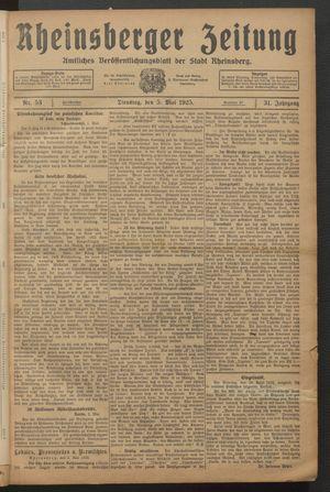 Rheinsberger Zeitung vom 05.05.1925