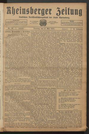 Rheinsberger Zeitung vom 12.05.1925