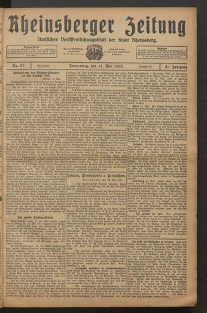 Rheinsberger Zeitung vom 14.05.1925