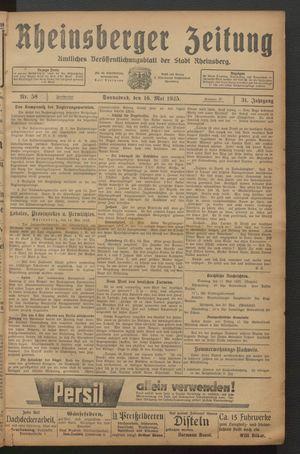Rheinsberger Zeitung vom 16.05.1925