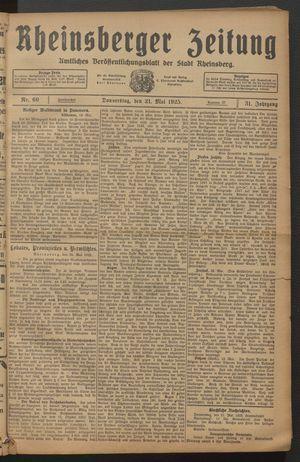 Rheinsberger Zeitung vom 21.05.1925