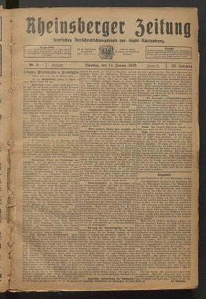 Rheinsberger Zeitung vom 12.01.1926