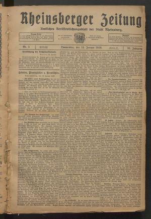 Rheinsberger Zeitung vom 14.01.1926
