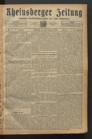 Rheinsberger Zeitung vom 19.01.1926