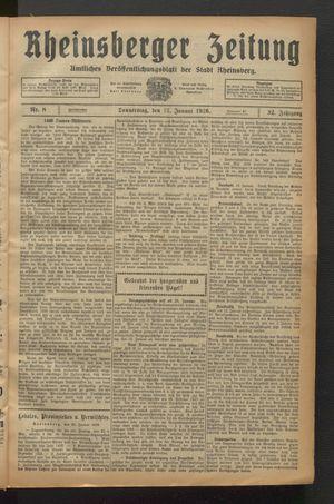 Rheinsberger Zeitung vom 21.01.1926