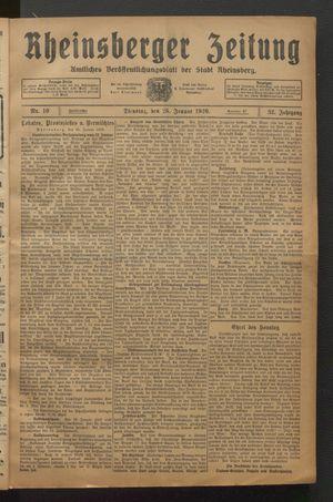 Rheinsberger Zeitung vom 26.01.1926