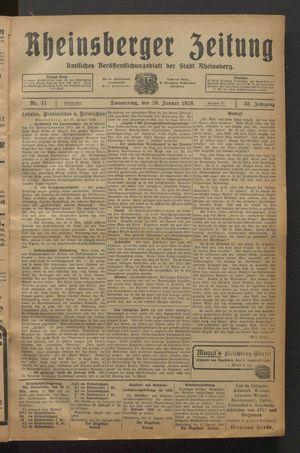Rheinsberger Zeitung vom 28.01.1926
