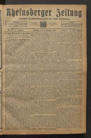 Rheinsberger Zeitung vom 02.02.1926