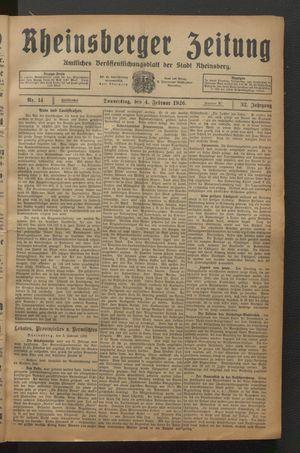 Rheinsberger Zeitung vom 04.02.1926
