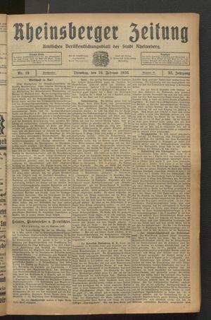 Rheinsberger Zeitung vom 16.02.1926