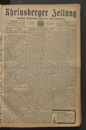 Rheinsberger Zeitung vom 18.02.1926