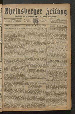 Rheinsberger Zeitung vom 23.02.1926