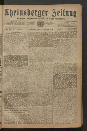 Rheinsberger Zeitung vom 25.02.1926