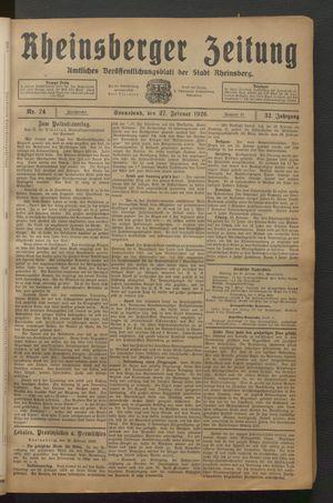 Rheinsberger Zeitung on Feb 27, 1926