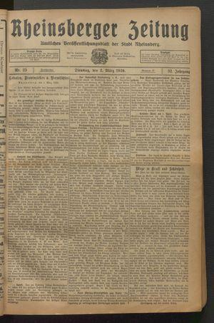 Rheinsberger Zeitung vom 02.03.1926