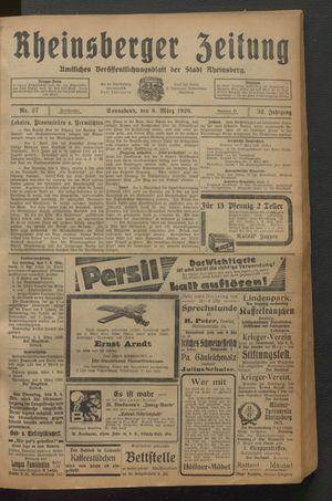 Rheinsberger Zeitung vom 06.03.1926