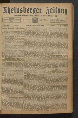 Rheinsberger Zeitung vom 09.03.1926