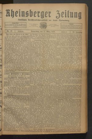 Rheinsberger Zeitung on Mar 11, 1926