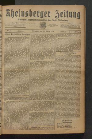 Rheinsberger Zeitung on Mar 16, 1926