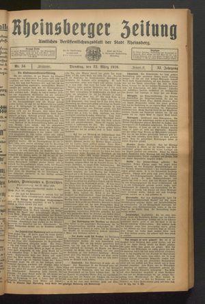 Rheinsberger Zeitung vom 23.03.1926