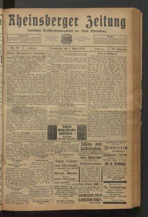 Rheinsberger Zeitung vom 01.04.1926