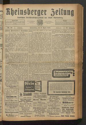 Rheinsberger Zeitung vom 08.04.1926
