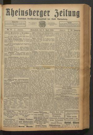 Rheinsberger Zeitung vom 10.04.1926