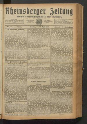 Rheinsberger Zeitung vom 13.04.1926