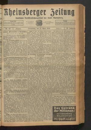 Rheinsberger Zeitung vom 15.04.1926