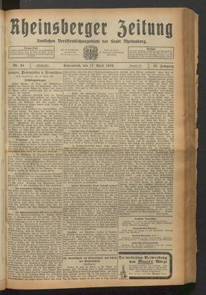 Rheinsberger Zeitung vom 17.04.1926