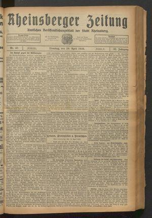 Rheinsberger Zeitung vom 20.04.1926
