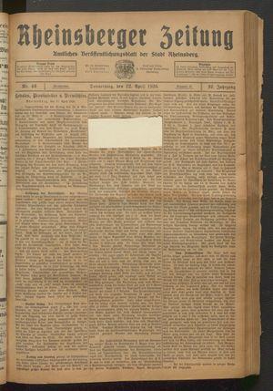 Rheinsberger Zeitung vom 22.04.1926