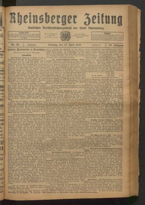 Rheinsberger Zeitung vom 27.04.1926