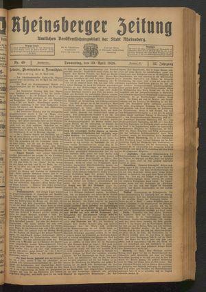 Rheinsberger Zeitung vom 29.04.1926