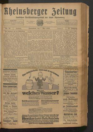 Rheinsberger Zeitung vom 01.05.1926