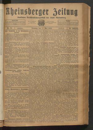 Rheinsberger Zeitung vom 11.05.1926