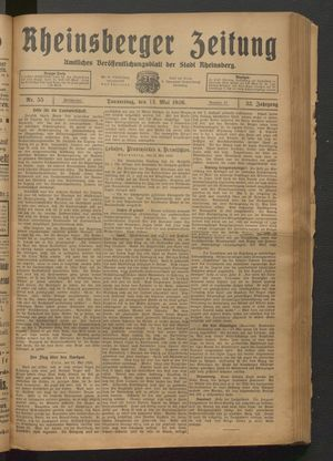 Rheinsberger Zeitung on May 13, 1926