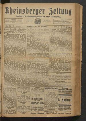 Rheinsberger Zeitung vom 22.05.1926