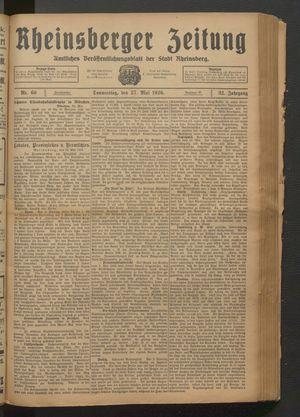 Rheinsberger Zeitung vom 27.05.1926