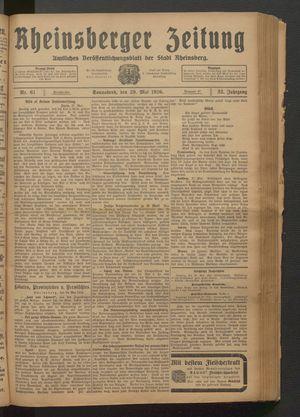 Rheinsberger Zeitung vom 29.05.1926