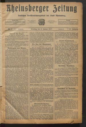 Rheinsberger Zeitung vom 04.01.1927