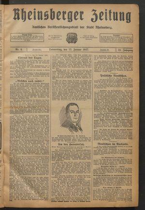 Rheinsberger Zeitung vom 13.01.1927