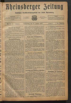 Rheinsberger Zeitung vom 20.01.1927