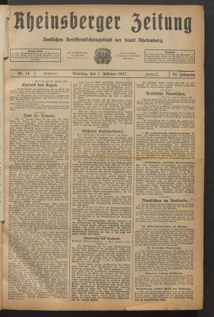 Rheinsberger Zeitung vom 01.02.1927