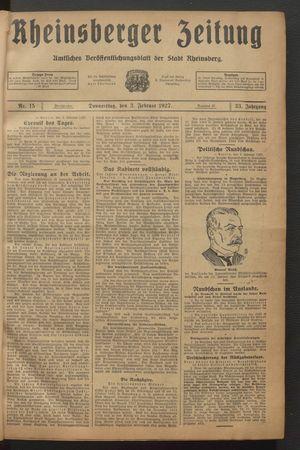 Rheinsberger Zeitung vom 03.02.1927